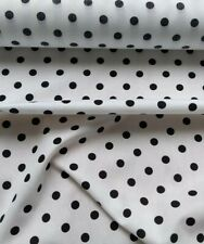 "WHITE, BLACK, POLKA DOT, 60"" EXTRA WIDE, 100% cotton fabric sold/PER METRE/"
