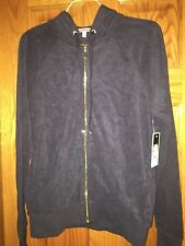 Juicy Couture Relaxed Velour Zip Hoodie Jacket in Top Hat Grey Size XS NWT $108