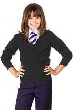 TEEN LADIES GIRLS KNITTED WOOL MIX STRETCH V NECK JUMPER KIDS UNIFORM SCHOOL