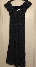 H&M Trend Off The Shoulder Dress Polkadot 6 32 XS Navy White Spotty Frill