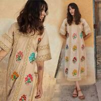 vintage hippie Ethnic Floral Embroidery Mexican Womens Bohemia Beach maxi Dress