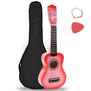 23''PINK CHILDRENS KIDS WOODEN ACOUSTIC GUITAR MUSICAL INSTRUMENT GIFT CHILD TOY