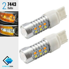 7443 Dual Color Switchback White/Amber 22-LEDs Turn Signal Lamp Light Bulbs