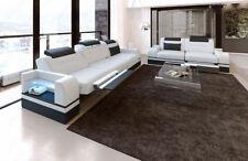 Leder Sofagarnitur Parma 3er 2er Couchgarnitur DESIGNER Sofa LED Beleuchtung