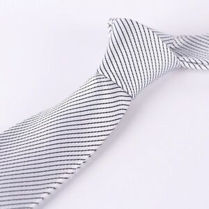 Fashion Black Silver Stripes  JACQUARD WOVEN Silk Men's Tie Necktie #014