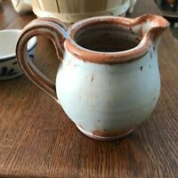 "4.5"" NPL  Ceramic Pottery Pitcher Rustic Home Grown Rust Cape Cod Ma"