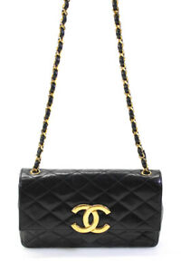 Chanel Womens Leather Quilted Lambskin Vintage Shoulder Handbag Black Gold Small