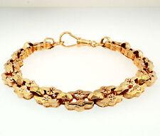"""Antique 9ct Rose Gold 7.5"""" Watch Link Bracelet 9mm Widest"""