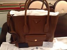 b51f55574dd0 Prada Daino Side-Zip Twin Pocket Tote Bag, Brown (Brandy) Leather BN2672