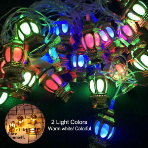EID Ramadan Moon Party Decor Islamic 10 LED Lantern String Light Colorful Lamp