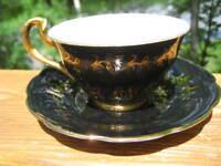 VINTAGE SPENCER STEVENSON GILDED TEA CUP AND SAUCER ENGLAND