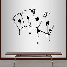 Vinyl Decal Playing Cards Poker Game Aces Suits Casino Gambling Mural Decor 2220