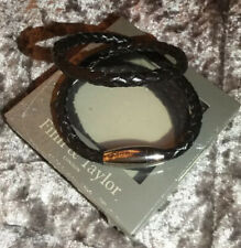 Brown Double Wrap Leather Bracelet Bnib Finn & Taylor Gents