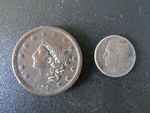 USA United States 1838 Large One Cent Copper Coin Cleaned + 1948 Dime Used