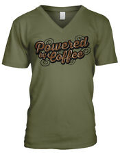 Powered By Coffee Drink Caffeine Wake Up Morning Need Cup Men's V-Neck T-Shirt