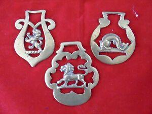 3 vintage horse brasses e