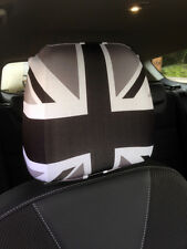 CAR SEAT HEAD REST COVERS 2 PACK BLACK & WHITE UNION JACK DESIGN