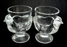 Egg Cup Holder x 2 Figural Glass Hen Chicken France Clear Great Detail Vintage