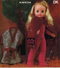 "Dolls clothes knitting pattern.14""16""and 18""doll. Laminated copy. Vdoll 64"