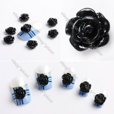 20pcs Acrylic 3D Black Rose Flower Stickers Beads Nail Art Tips DIY Decorations