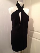 Gorgeous Aqua Couture AQ AQ Black Halter Cross Neck Mini Dress UK 8 Worn Once