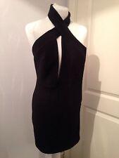 Gorgeous Aqua Couture AQ AQ Black Halter Cross Neck Mini Dress UK 8 Worn Once