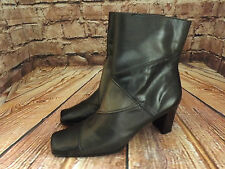 Ladies Liz Claiborne Black & Grey Leather Mid Heel Zip Up Ankle Boots US 6M UK 4