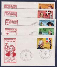 COTE D'IVOIRE    enveloppe  ;   5  indépendance dezs Etats Unis   1976
