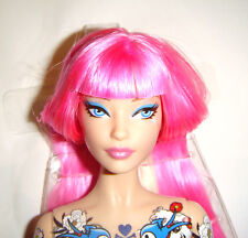 R1 Nude Barbie Doll Tokidoki Long Pink Hair Tattoo Model Muse Barbie Doll tk01