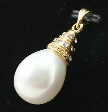 White Shell Pearl Drop Yellow Gold Plated Crystal Pendant & Necklace