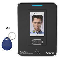Biometrische Stempeluhr Zeiterfassungsgerät Facepass 7 Kontaktfrei 20 RFID Chips