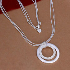 925 Hallmark Sterling Silver Filled SF Double Hoop Pendant  Necklace N409