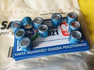 Brieftaubenringe PL 2021 Polen 10 Originale FCI neu mit Ringkarten pigeon rings