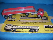 884A Ancien Solido Réf 302 Tracteur Willeme LD 610 + Remorque Titan 1:50