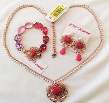 """Betsey Johnson """"Betsey's Boathouse"""" Jewelry Set Red Coral Crab  NWT/HTF!"""