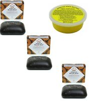 3 - Pack Nubian Heritage African Black Soap 5oz + Bonus :Shea Butter 8oz Tub