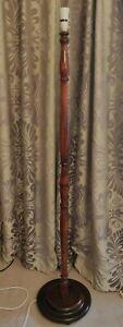 Vintage Mahogany Turned Floor / Standard Lamp - 157cm Tall