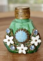 Antique JEWELED & FILIGREE MINIATURE PERFUME Scent BOTTLE with Glass Dauber