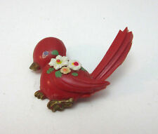 VINTAGE PLASTIC RED BIRD WITH FLOWERS PIN / BROOCH *