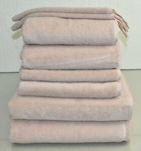NEW Frette 9 PC TOWEL SET Elisa Border Bath Sheet Hand Washcloth Mat  BLUSH PINK