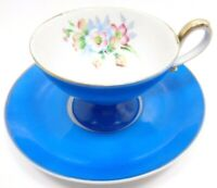 VINTAGE JAPANESE HAND PAINTED PORCELAIN DEMITASSE FOOTED CUP & SAUCER UCAGCO
