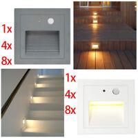 LED Wandeinbauleuchte aussen Leuchte Treppe Beleuchtung 230V mit Bewegungsmelder