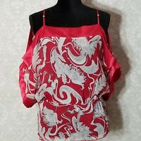 Profile Red White Black Paisley Floral Cinched Waist Cold Shoulder Top Medium