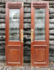 Vintage Double Doors Edwardian Style Etched Glass Solicitors Brass Handles
