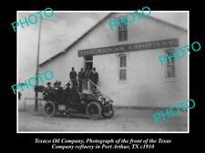 OLD 6 X 4 HISTORIC PHOTO OF TEXACO OIL COMPANY REFINERY, PORT ARTHUR TEXAS c1910