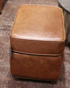 """22"""" W Beautiful ottoman top grain light brown leather hand crafted quality nice"""