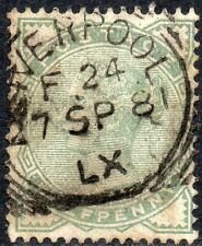 1880 Sg 164 ½d deep green with Liverpool Exchange Squared Circle Cancellation