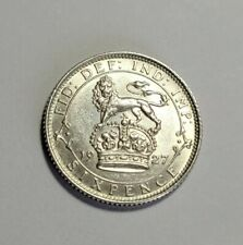 More details for 1927 uk silver sixpence coin,george v, 6d, gb, six pence coin, gef