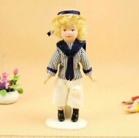 1:12 Dollhouse Miniature Doll Standing Porcelain Doll Cool Boy With Navy Suits ♫