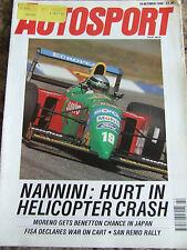 AUTOSPORT MAGAZINE OCT 1990 NANNINI: HURT IN HELICOPTER CRASH MORENO BENETTON
